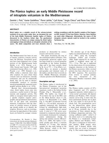 The Pia`nico tephra: an early Middle Pleistocene record of ... - UQAM