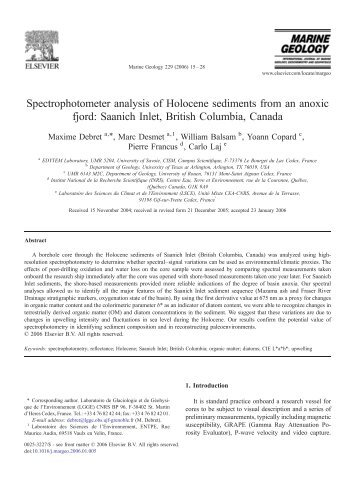 Spectrophotometer analysis of Holocene sediments ... - ResearchGate