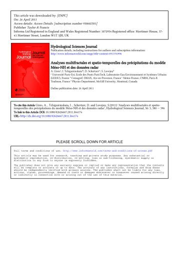 Analyses multifractales et spatio-temporelles - McGill Physics