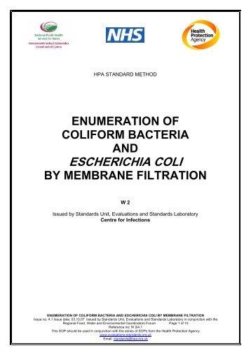 Enumeration of coliform bacteria and Escherichia coli