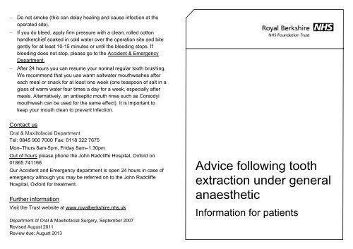 Advice following tooth extraction under general anaesthetic
