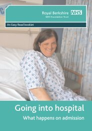 Going into hospital - The Royal Berkshire NHS Foundation Trust