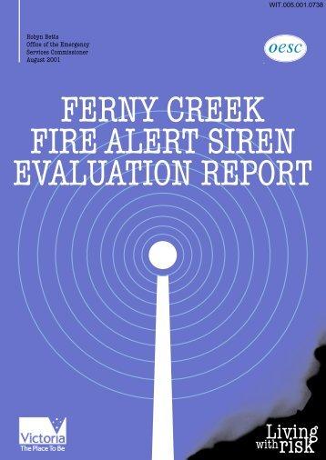 Ferny Creek fire alert siren evaluation report - 2009 Victorian ...