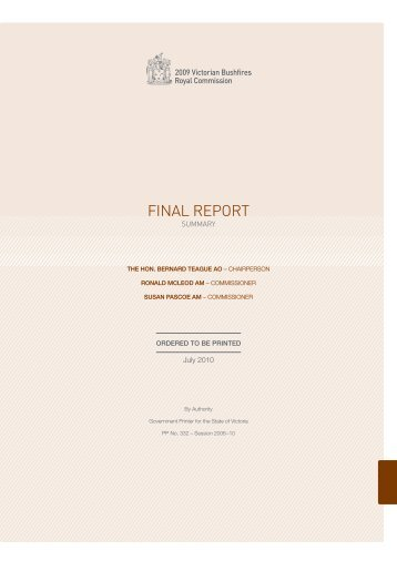 FINAL REPORT - 2009 Victorian Bushfires Royal Commission