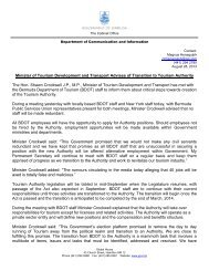 Minister of Tourism Development and Transport Advises of ...
