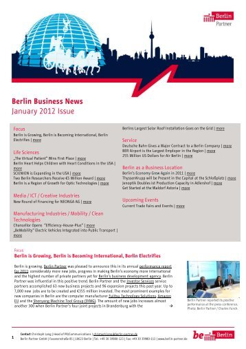 Berlin Business News January 2012 Issue - Berlin Partner GmbH