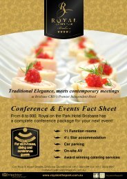 Conference & Events Fact Sheet - Royal On The Park Hotel