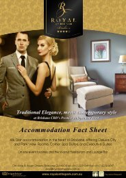 2013 Accommodation Fact Sheet - Royal On The Park Hotel
