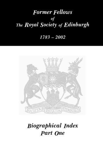 Biographical Index - The Royal Society of Edinburgh