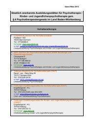 Liste staatlich anerkannter Ausbildungsstätten