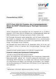 STIFT-Preis 2010 für Projekte, die in ... - Stiftung Bildung für Thüringer