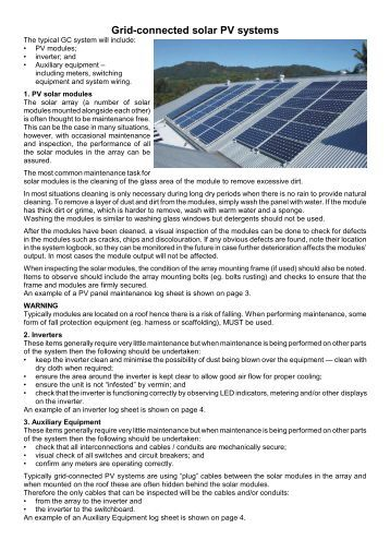 Grid-connected solar PV systems