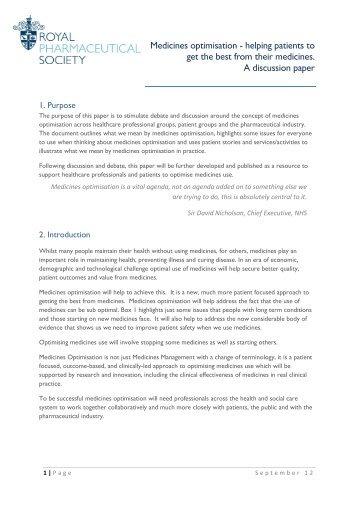 Medicines optimisation - Royal Pharmaceutical Society