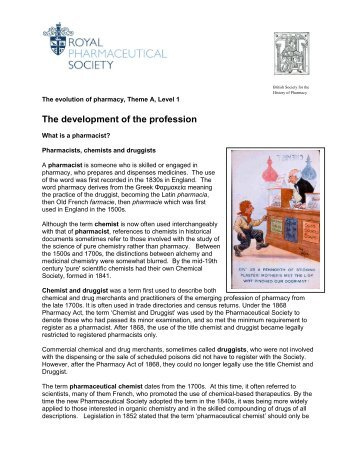 The development of the profession - Royal Pharmaceutical Society