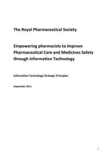 The Royal Pharmaceutical Society Empowering pharmacists to ...