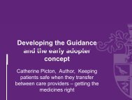 Developing the Guidance and the early adopter and the early ...