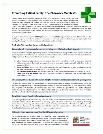 Manifesto for Pharmacy - Royal Pharmaceutical Society