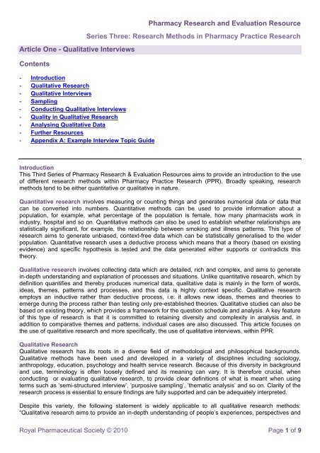 Research Methods In Pharmacy Practice Research Article One