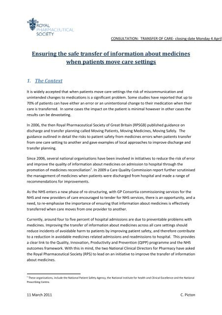 Ensuring the safe transfer of information about medicines