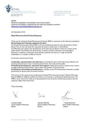 streamlining and reducing regulatory burdens - Royal ...