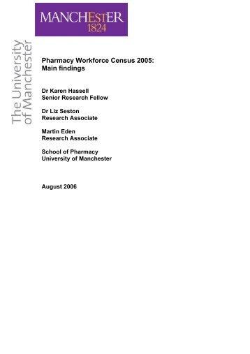 Pharmacy workforce census 2005: Main findings - Home - KSU ...