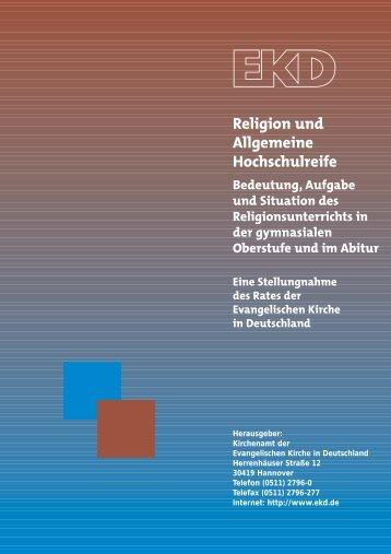 Religion und Allgemeine Hochschulreife - Evangelische Kirche in ...