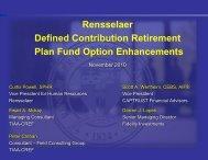 Rensselaer Defined Contribution Retirement Plan Fund Option ...