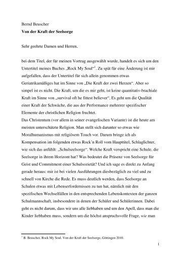 Bernd Beuscher Von der Kraft der Seelsorge Sehr ... - RPZ Heilsbronn