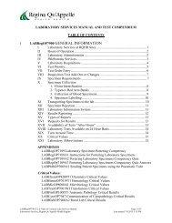 Laboratory Services Manual and Testing Compendium - Regina Qu ...