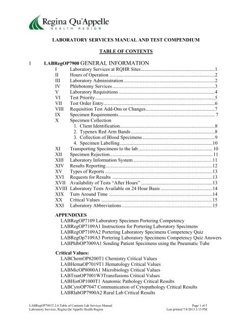 Laboratory Services Manual and Testing Compendium - Regina