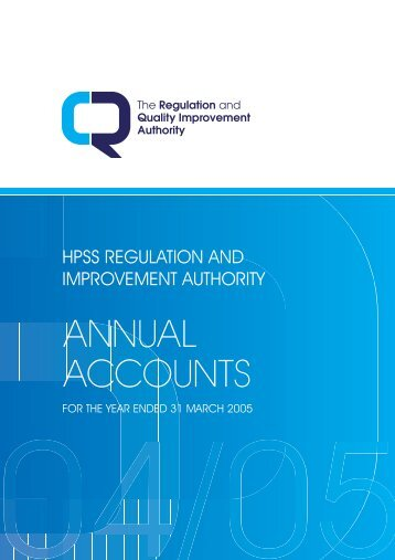 AnnuAl Accounts - Regulation and Quality Improvement Authority