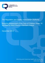 RQIA Baseline assessment of the care of children under 18