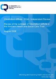 Clostridium Difficile - RQIA Independent Review - Regulation and ...