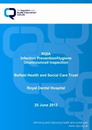 Royal Dental Hospital, Belfast - 25 June 2012 - Regulation and ...
