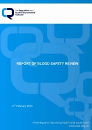 RQIA Blood Safety Review Report, February 2010 - Regulation and ...