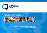RQIA Business Plan 2012-13 - Regulation and Quality Improvement ...