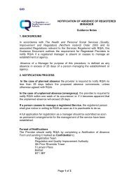Absence of Registered Manager - Notification Form - Guidance Notes