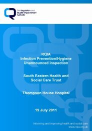 Thompson House Hospital, Lisburn - 19 July 2011 - Regulation and ...
