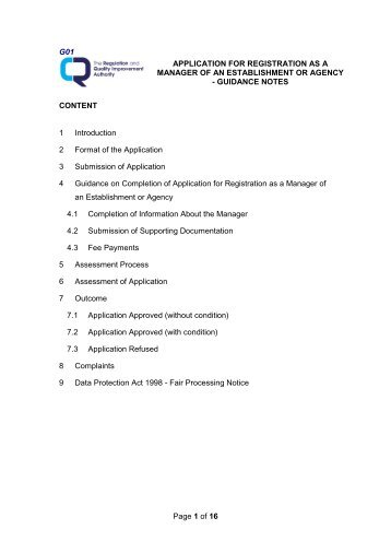 Application For Registration As A Manager Of An Establishment Or ...