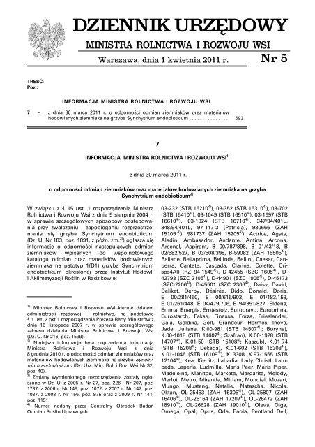 DZIENNIK URZßDOWY - Ministerstwo Rolnictwa i Rozwoju Wsi
