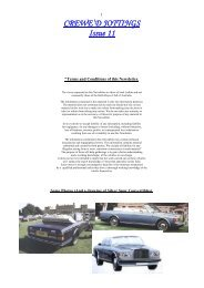 Crewe'd Jottings - The Enthusiasts Website for Roll-Royce & Bentley ...