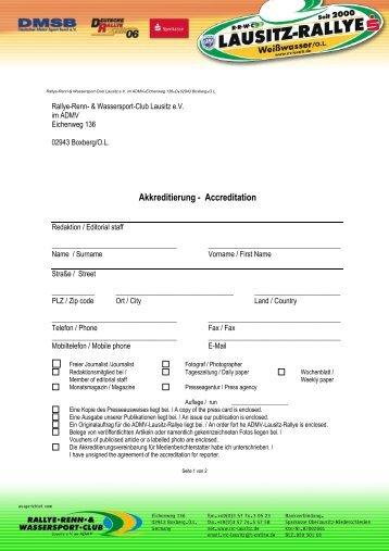 Akkreditierung - Accreditation - Rallye-Renn-& Wassersport-Club ...