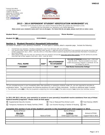 verification worksheet for dependent students kidz activities. Black Bedroom Furniture Sets. Home Design Ideas