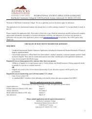 Download application form - Red Rocks Community College