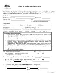 Petition for Tuition Classification - Red Rocks Community College