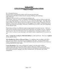 Spring of 2012 COM 125 (Interpersonal Communication) Syllabus