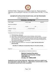 radiologic tech application (pdf) - Red Rocks Community College