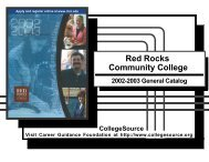 opportunities, options, excellence - Red Rocks Community College