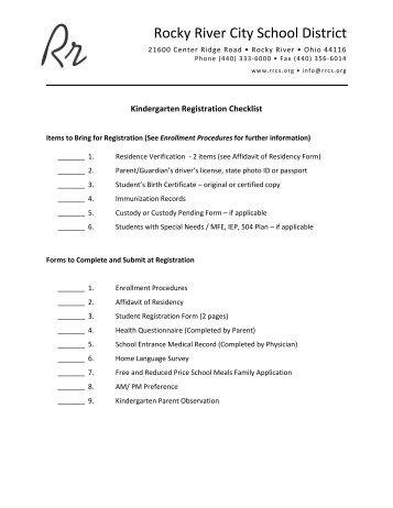 Registration Checklist Kdgn - Rocky River City Schools