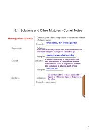 8.1: Solutions and Other Mixtures Cornell Notes